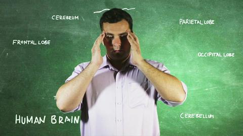 Young Man Headache Brain BG 2 Stock Video Footage