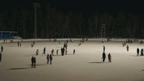Ice Skating Rink at Night 02 Stock Video Footage