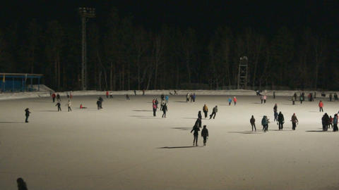 Ice Skating Rink at Night 02 Footage