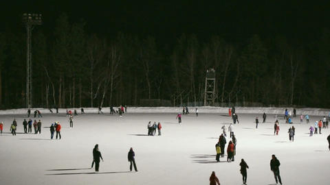 Ice Skating Rink at Night 04 Stock Video Footage