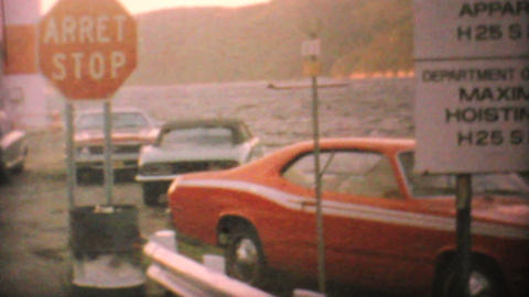 Cars Boarding Ferry In Northern Canada 1969 Vintage 8mm film Footage