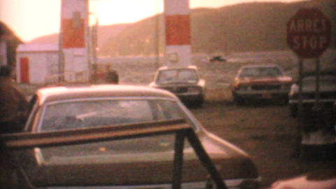 Cars Boarding Ferry In Northern Canada 1969 Vintage 8mm film Stock Video Footage