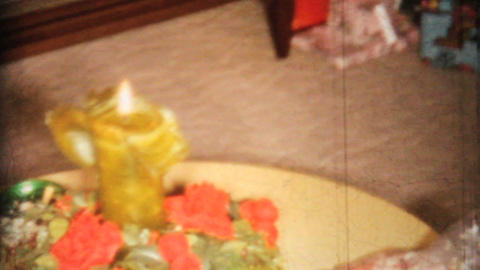 Christmas Tree Candle And Presents 1967 Vintage 8mm film Stock Video Footage