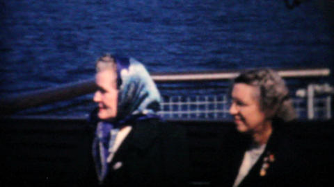 Man Pretends To Throw Up On Ferry Ride 1958 Vintage 8mm film Stock Video Footage