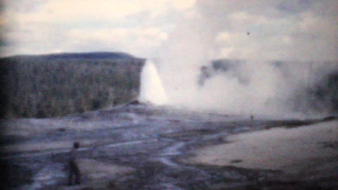 Old Faithful Geyser Yellowstone Park 1958 Vintage 8mm film Stock Video Footage