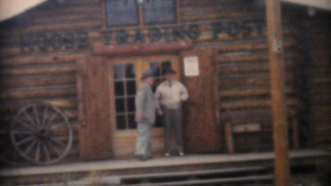 Tourists Visit Moose Trading Post In Wyoming 1958 Vintage... Stock Video Footage