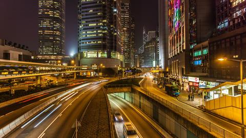 Traffic in Hong Kong at Night Stock Video Footage