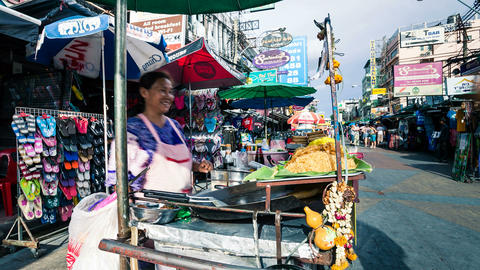 Timelapse - Street vendor in Kaoh San road, Bangkok Footage