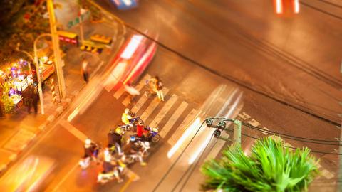 Timelapse tilt-shift view of Bangkok street crossing Stock Video Footage