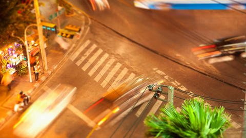 Timelapse Tilt-shift View Of Bangkok Street Crossing stock footage