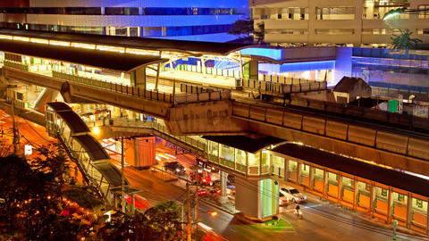 Moving Timelapse - Ekkamai BTS station in Bangkok Stock Video Footage