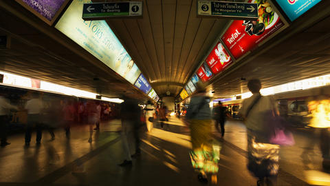 Timelapse - Crowd in Aerial subway station - Siam BTS... Stock Video Footage