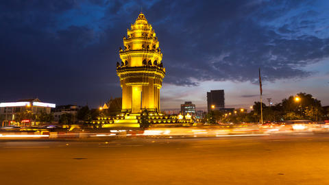 Sunset Timelapse of the Independence Monument in Phnom Penh, Cambodia Footage