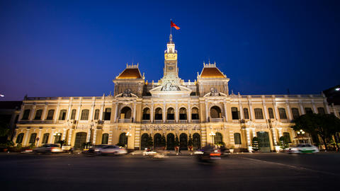 4K Timelapse Vietnam HCMC City Hall Stock Video Footage