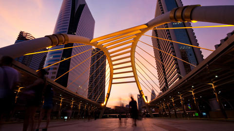 Timelapse - Pedestrians on Modern Skybridge a Stock Video Footage