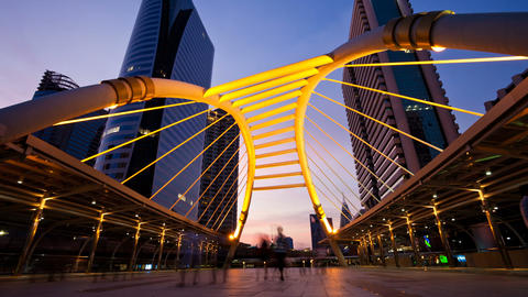 Timelapse - Pedestrians on Modern Skybridge a Footage