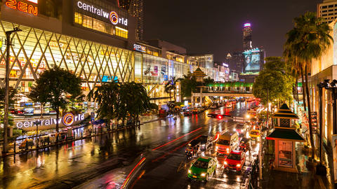 Timelapse - Night traffic in front of Central World, Bangkok Stock Video Footage