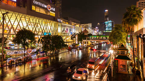 Timelapse - Night traffic in front of Central World, Bangkok Footage
