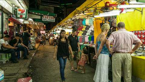 Timelapse of Bangkok night market Stock Video Footage