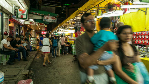 Timelapse of Bangkok night market Stock Video Footage