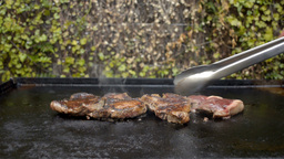 Cooking Steak On A Barbecue stock footage