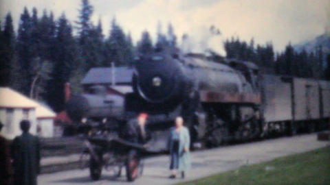 Family Takes Train To Lake Louise Alberta 1958 Vintage... Stock Video Footage