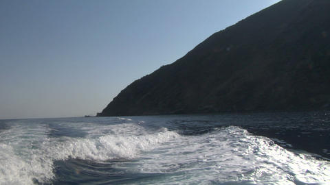 eolian island sea wake 04 Stock Video Footage