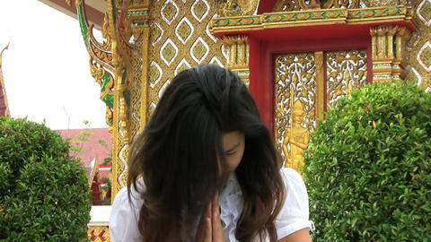 Girl Doing A Thai Style Greeting Stock Video Footage