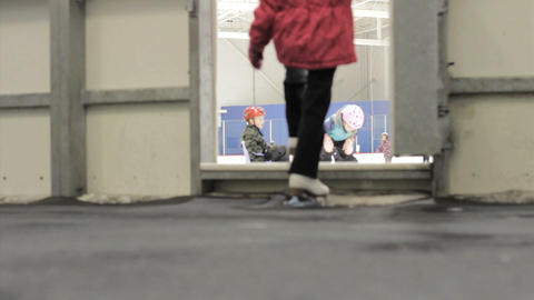 Girl Steps Out On The Ice At Public Skating Stock Video Footage