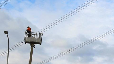 Hydro Worker Swings By In Bucket Stock Video Footage