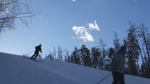 Downhill Skiing 01 Stock Video Footage