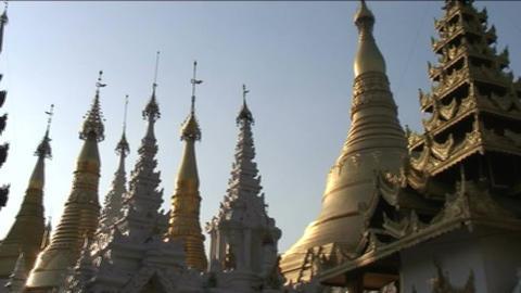 Shwedagon pagoda, Myanmar Stock Video Footage