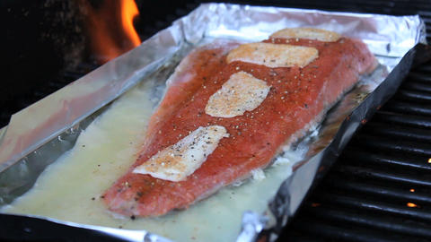 Grilling Fresh Salmon On BBQ Stock Video Footage