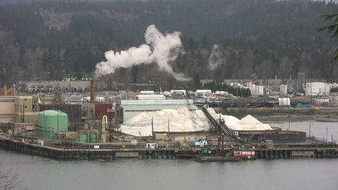 Harbor Factory Pollution stock footage