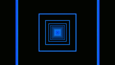 blue square tunnel Animation