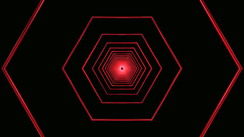 red hexagon tunnel Stock Video Footage