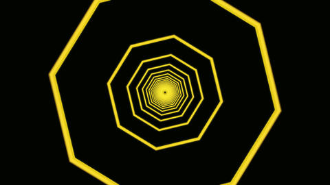 yellow octagon tunnel Stock Video Footage