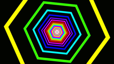hexagon rainbow tunnel Stock Video Footage