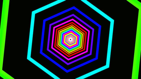 hexagon rainbow tunnel Stock Video Footage