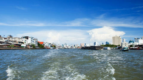 Timelapse - View from Taxi Boat on Chao Phraya river in Bangkok, Thailand Footage