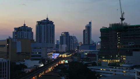 Time Lapse - Bangkok city at Sunset Stock Video Footage