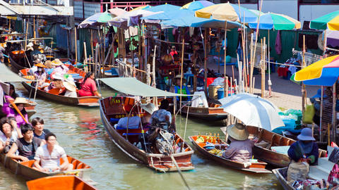Timelapse - Floating Market in Thailand Stock Video Footage