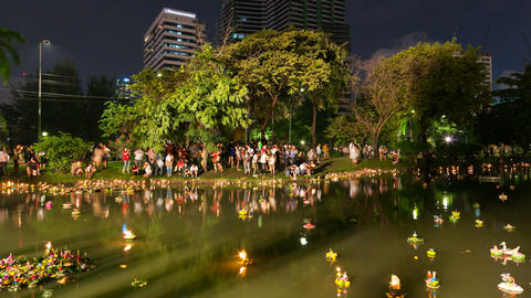 Timelapse of Loy Krathong festival, Bangkok Stock Video Footage