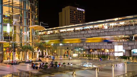 Zooming Timelapse - Siam Paragon and Siam BTS station, Bangkok Footage