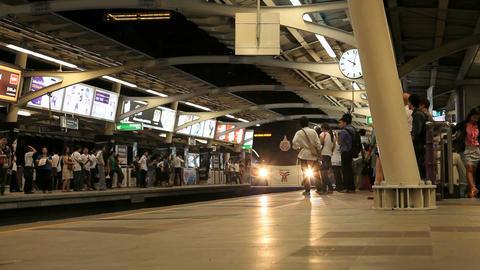BTS train at platform station, Bangkok, Thailand Stock Video Footage