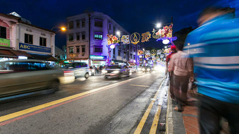Little India Timelapse, Singapore Stock Video Footage