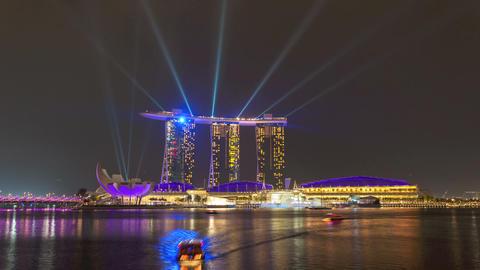 Timelapse - Singapore Marina Bay Sands Laser Show Stock Video Footage