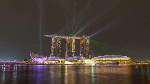 Timelapse - Singapore Marina Bay Sands Laser Show Stock Video Footage