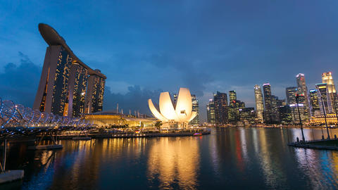 Timelapse - Singapore Marina Bay Night City Skyline Stock Video Footage