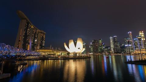 Timelapse - Singapore Marina Bay Night City Skyline Stock Video Footage